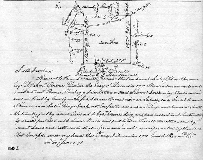 Thomas Lindsey Received A Grant For 200 Acres Of Land On Kings Creek In Present Day Newberry Co 1774 Had The Surveyed 1771